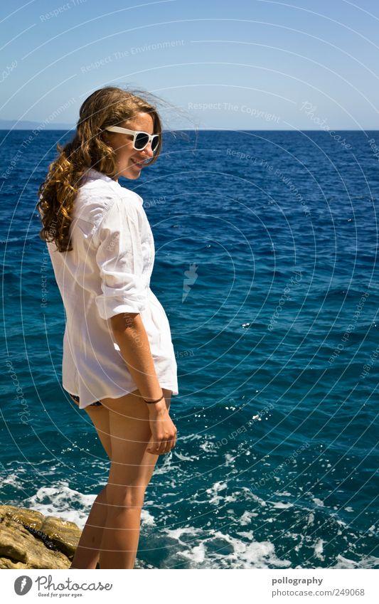 Holiday flirtation? Beautiful Vacation & Travel Far-off places Freedom Summer Summer vacation Sunbathing Ocean Human being Feminine Young woman