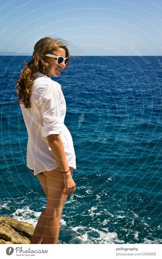 Woman Human being Youth (Young adults) Water Blue Beautiful Vacation & Travel Ocean Summer Adults Far-off places Feminine Life Freedom Happy Waves