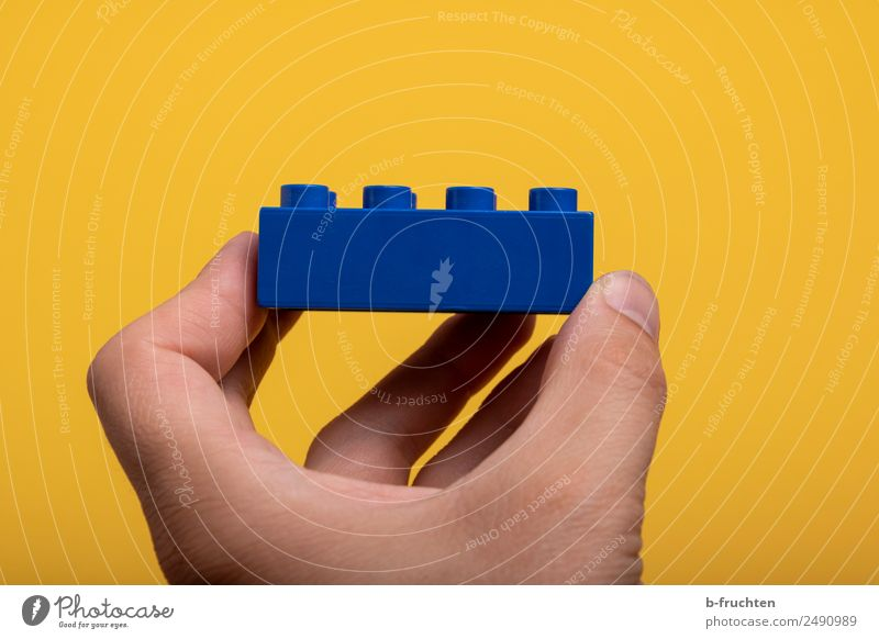 blue component Construction site Man Adults Hand Fingers Toys Plastic Touch To hold on Blue Yellow Joy Business Leisure and hobbies Accuracy Brick Build
