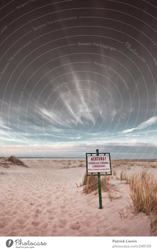 Spiekeroog. Attention. Ocean Beach Signs and labeling Sky Sand