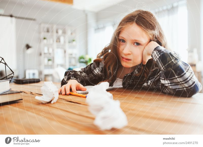 angry and tired child girl having problems with home work Lifestyle Reading Table Child School Study Schoolchild Infancy Book Write Sadness Smart Fatigue Stress
