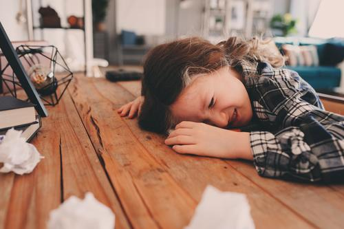 child girl sleeping while doing homework Lifestyle Reading Table Child School Study Schoolchild Infancy Sleep Write Sadness Smart Fatigue Stress Concentrate