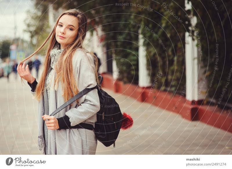 street style portrait of young beautiful happy girl Lifestyle Style Feminine Woman Adults Autumn Weather Warmth Street Fashion Coat Hip & trendy Modern Natural