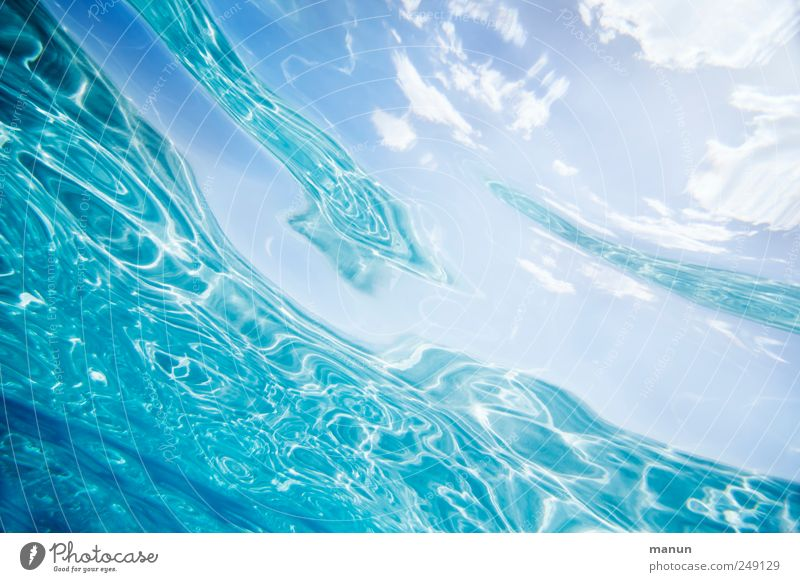 crystal water Nature Elements Water Sky Clouds Ocean Surface of water Sardinia Mediterranean sea Authentic Fantastic Fluid Fresh Natural Clean Blue Wanderlust