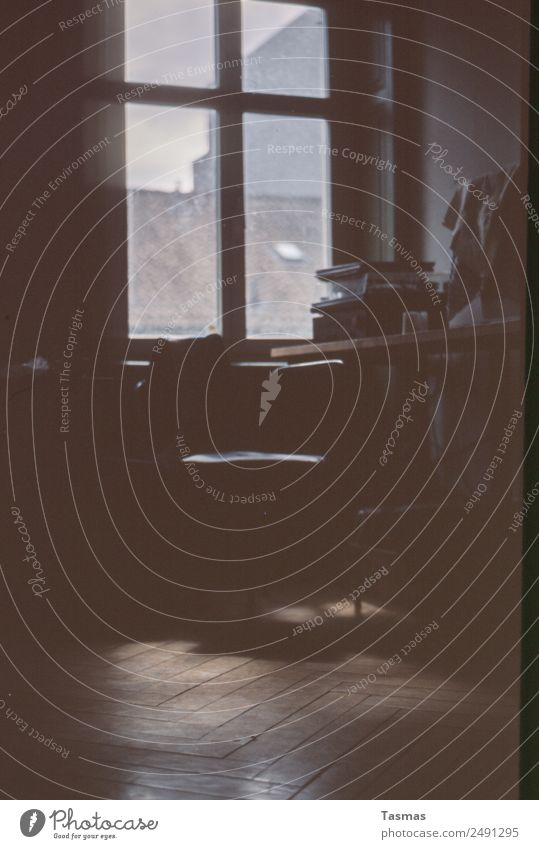 music room Window Room Interior design Herringbone Parquet floor Chair Record player Joy Simple Analog Music Colour photo Interior shot Deserted Day Light