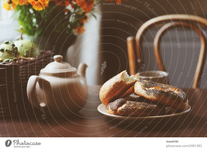 cozy autumn breakfast on table in country house Breakfast Beverage Tea Pot Lifestyle Relaxation Decoration Table Autumn Warmth Leaf Forest Wood Brown