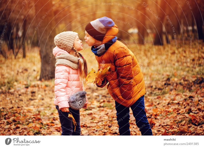 autumn portrait of happy kids playing outdoor in park Joy Leisure and hobbies Playing Vacation & Travel Child Sister Family & Relations Friendship Infancy