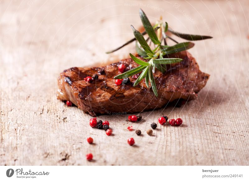 Wood Food Good Stripe Near Herbs and spices Diagonal Delicious Twig Meat Wooden board Organic produce Steak Pepper Rosemary Roasted