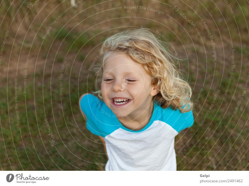Small child with long blond hair Happy Beautiful Face Summer Child Human being Baby Boy (child) Man Adults Infancy Environment Nature Plant Blonde Smiling Long