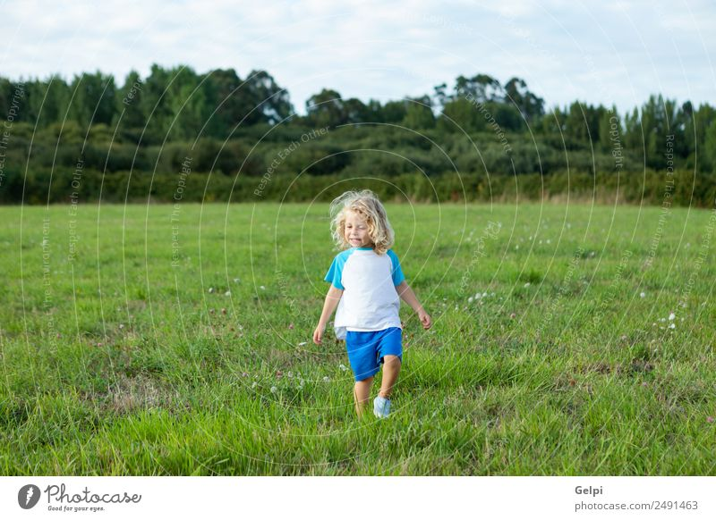 Small child with long blond hair Happy Beautiful Summer Child Human being Baby Boy (child) Man Adults Infancy Environment Nature Landscape Plant Meadow Blonde
