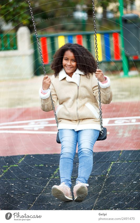 Pretty girl with long afro hair Happy Beautiful Hair and hairstyles Skin Face Child School Woman Adults Warmth Park Jeans Coat Afro To enjoy Cute ten african