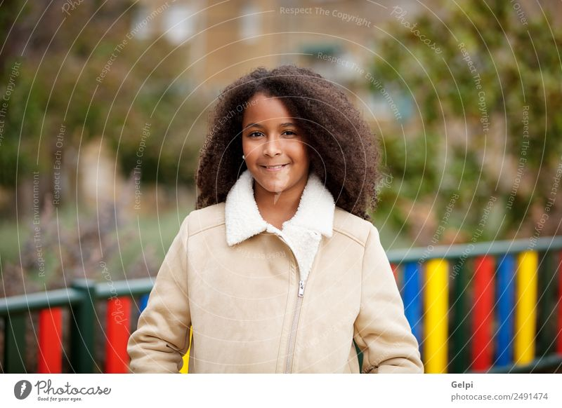 Pretty girl with long afro hair Woman Child Sky Beautiful Colour Face Adults Warmth Happy School Hair and hairstyles Park Skin Cute Beauty Photography Fence