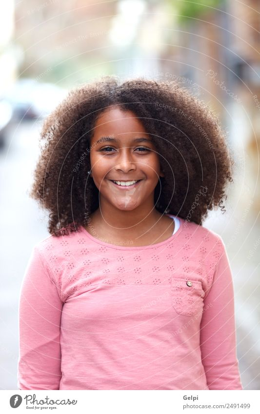 Pretty girl with long afro hair Joy Happy Beautiful Winter Child Human being Toddler Infancy Nature Street Afro Smiling Happiness Small Cute Black Innocent kid