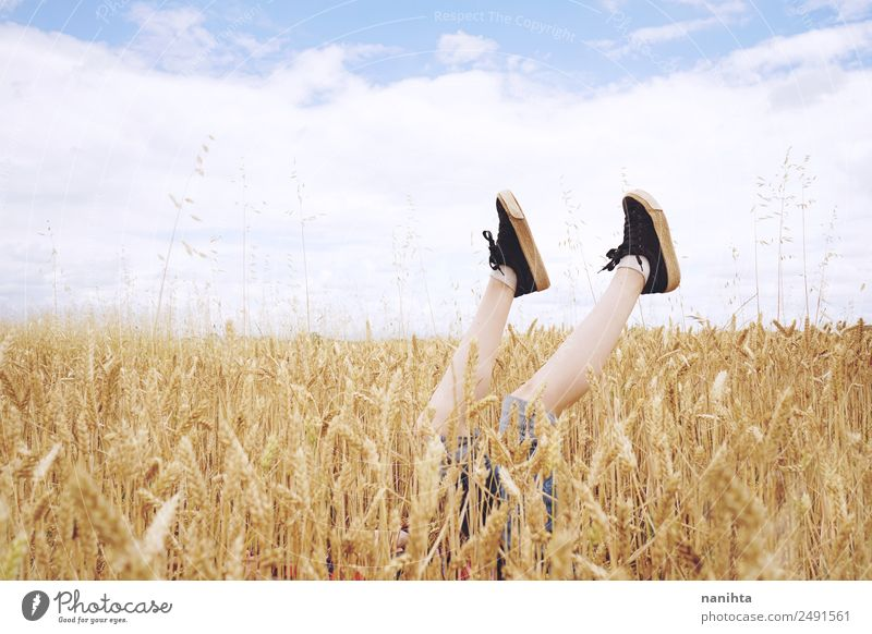 Feet surrounded by wheat crops Grain Wheat Wheatfield Organic produce Lifestyle Style Design Wellness Harmonious Well-being Agriculture Forestry Infancy Legs