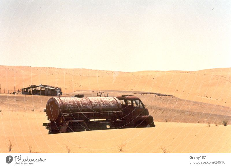 Forgotten Truck Gasoline Dry Advertising executive Poster Panorama (View) Vacation & Travel Desert Oil Wreck Sand strum advertising material