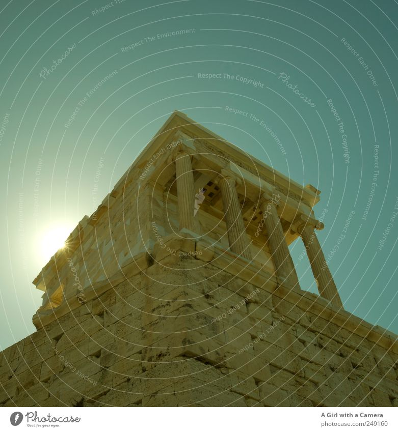 on a pedestal Sky Summer Beautiful weather Athens Acropolis Greece Capital city Old town Deserted Ruin Manmade structures Building Architecture Column