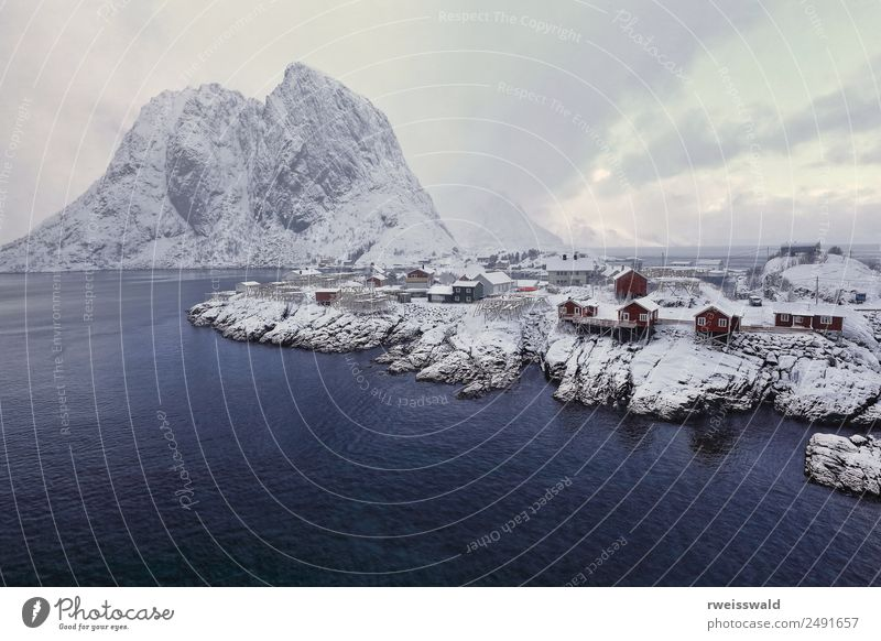 Hamnoy fishing village-heavy snowfall. Reine-Lofoten-Norway-0372 Sky Nature Vacation & Travel Water Landscape House (Residential Structure) Clouds Calm Winter