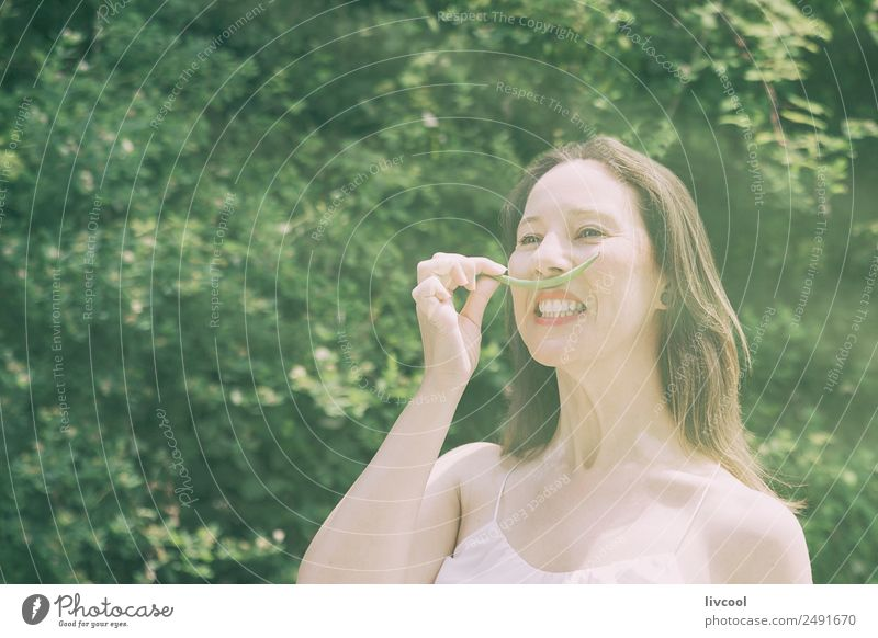 woman joking with green mustaches Woman Human being Nature Summer Beautiful Green Tree Eroticism Relaxation Face Adults Lifestyle Senior citizen Feminine