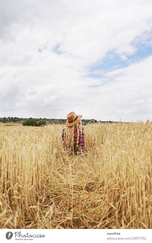 Woman alone in a field of wheat Lifestyle Style Design Wellness Relaxation Vacation & Travel Adventure Far-off places Freedom Summer Human being Feminine
