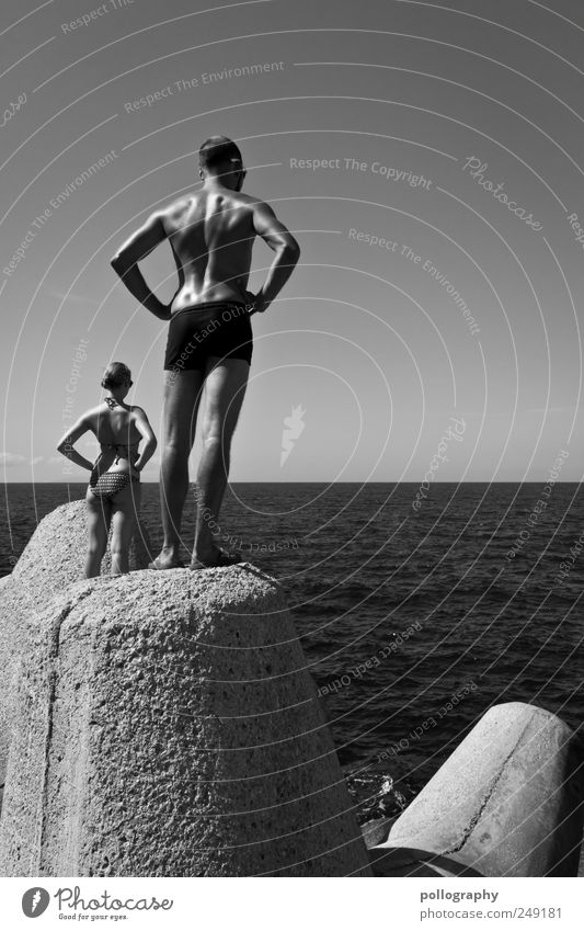 Human being Nature Youth (Young adults) Water Beautiful Summer Ocean Feminine Wall (building) Wall (barrier) Adults Coast Waves Body Horizon Concrete