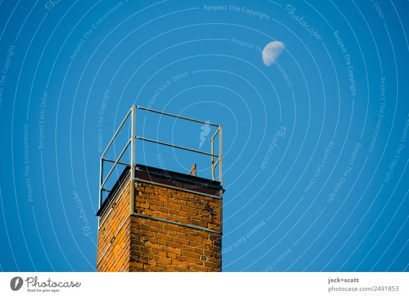Luna on the trigger Cloudless sky Moon Chimney Brick Far-off places Above Moody Inspiration Kitsch Natural phenomenon Point in time Ravages of time Twilight