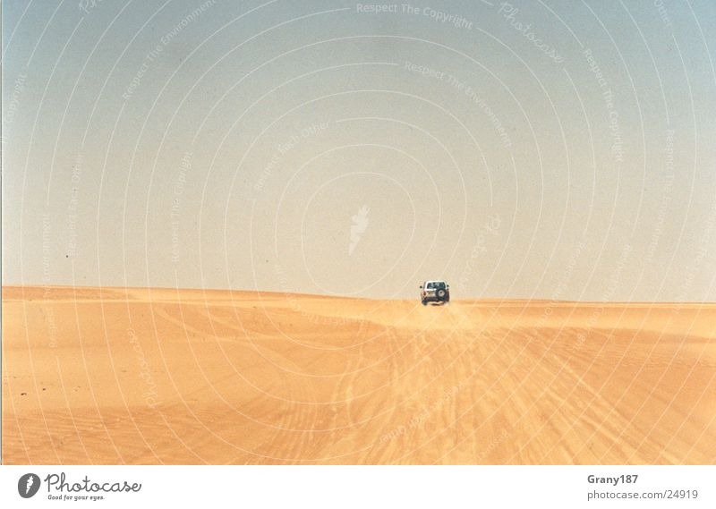 Far far away Offroad vehicle Hot Advertising executive Poster Panorama (View) Vacation & Travel Desert jeep Sand Beach dune infinitely far Sun