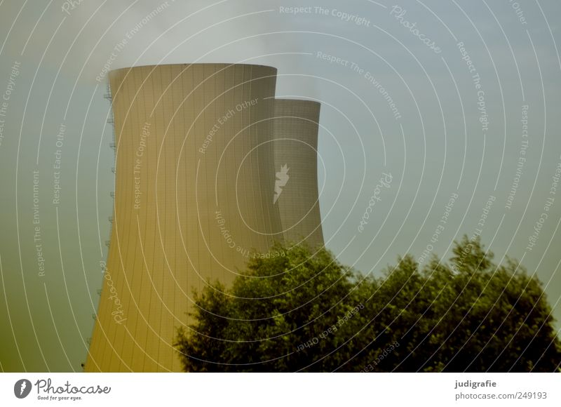 NUCLEAR POWER PLANT Economy Energy industry Nuclear Power Plant Environment Nature Sky Tree Bushes Threat Colour photo Subdued colour Exterior shot Deserted
