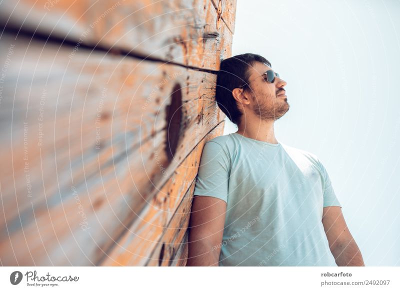 black haired man posing with sunglasses Lifestyle Elegant Style Beautiful Face Human being Man Adults Fashion Clothing Sunglasses Cool (slang) Eroticism