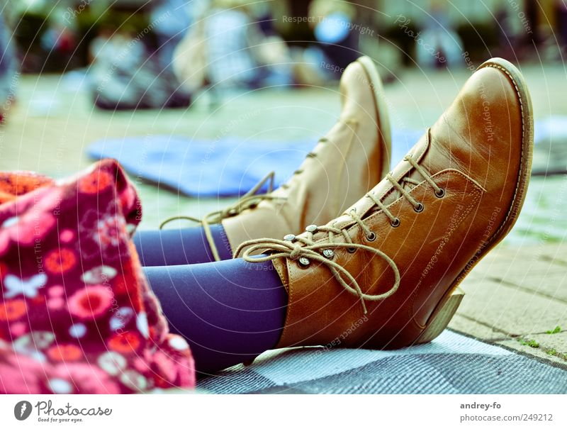 Cool boots Leather Fashion Footwear Boots Brown Shoe sole Laced boot Shoelace Pair of shoes Feet 2 Adhesive plaster on the ground Authentic Chic genuine leather