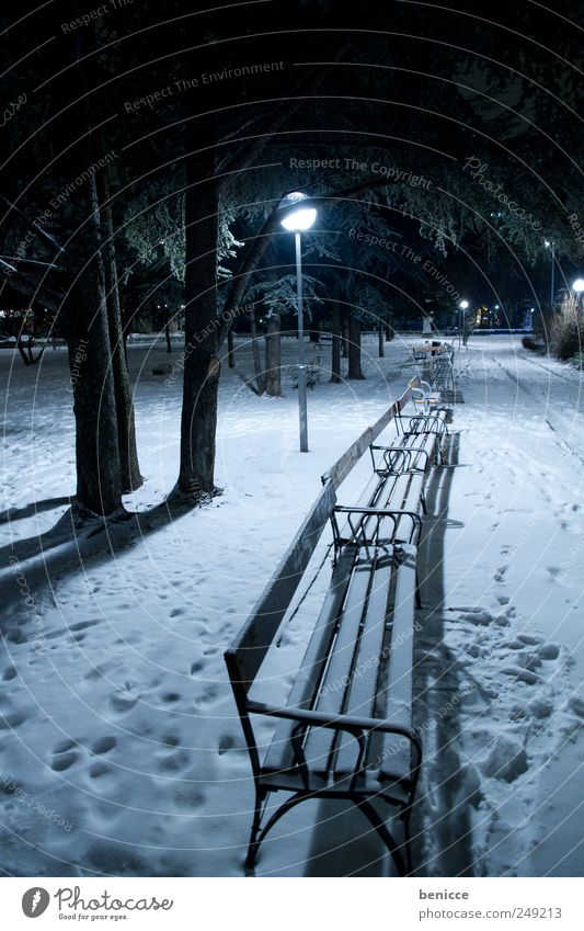 brr Park Park bench Winter Landscape Snow Footprint Deserted forsake sb./sth. Night Evening Lantern Street lighting Light Lamp