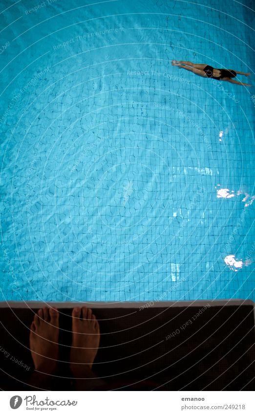 Human being Blue Water Joy Life Sports Movement Jump Air Feet Fear Swimming & Bathing Wait Tall Stand Cool (slang)