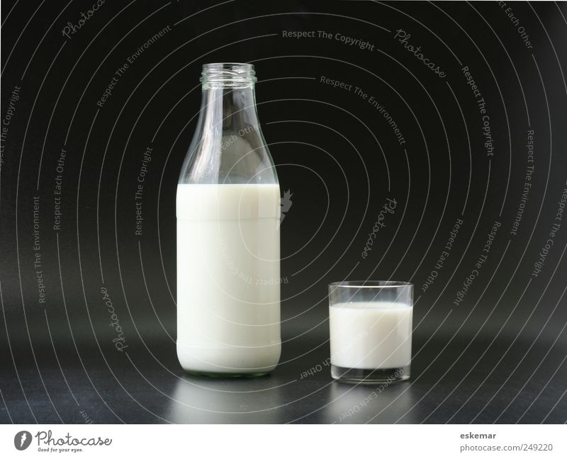 White Black Food Healthy Glass Beverage Esthetic Simple Bottle Milk Organic produce Frosted glass Milk bottle