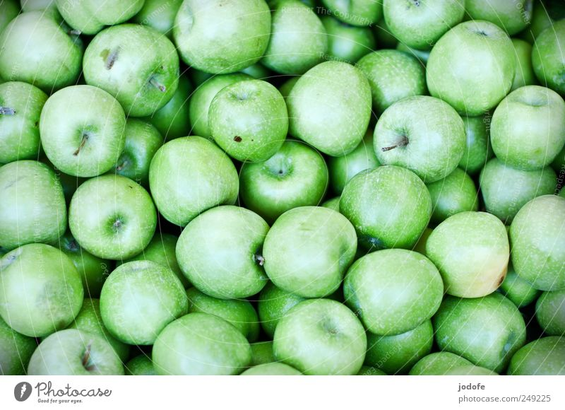 apples Food Fruit Apple Nutrition Healthy Glittering Sour Many quantity Green Bilious green Grass green green apple apple variety Fruity Vitamin Granny Smith