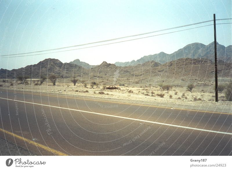Desert Route Badlands Advertising executive Poster Panorama (View) Vacation & Travel Highway Street Sand Telgraph mast advertising material