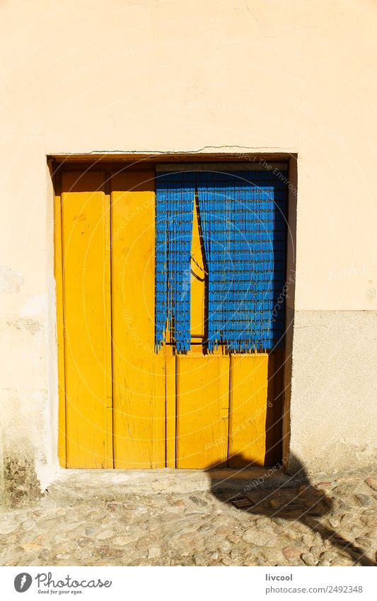 yellow door, hervas-caceres Old Town House (Residential Structure) Street Architecture Yellow Building Small Art Facade Retro Europe Uniqueness Spain Village