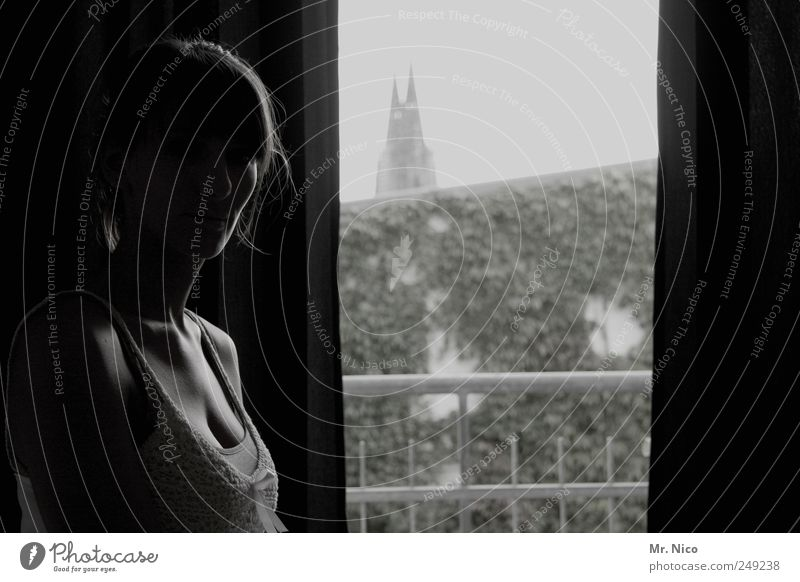 Woman Beautiful City Dark Window Emotions Adults Sadness Think Skin Flat (apartment) High-rise Warm-heartedness Meditative Longing Trust