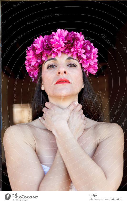 Sad mature woman Elegant Beautiful Face Cosmetics Make-up Human being Woman Adults Lips Flower Fashion Accessory Brunette Sadness Dark Eroticism Natural Cute