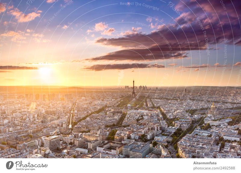 Cityscape in Paris from above at sunset Beautiful Vacation & Travel Tourism Trip Sightseeing City trip Culture Landscape Sky Horizon Sun Sunrise Sunset