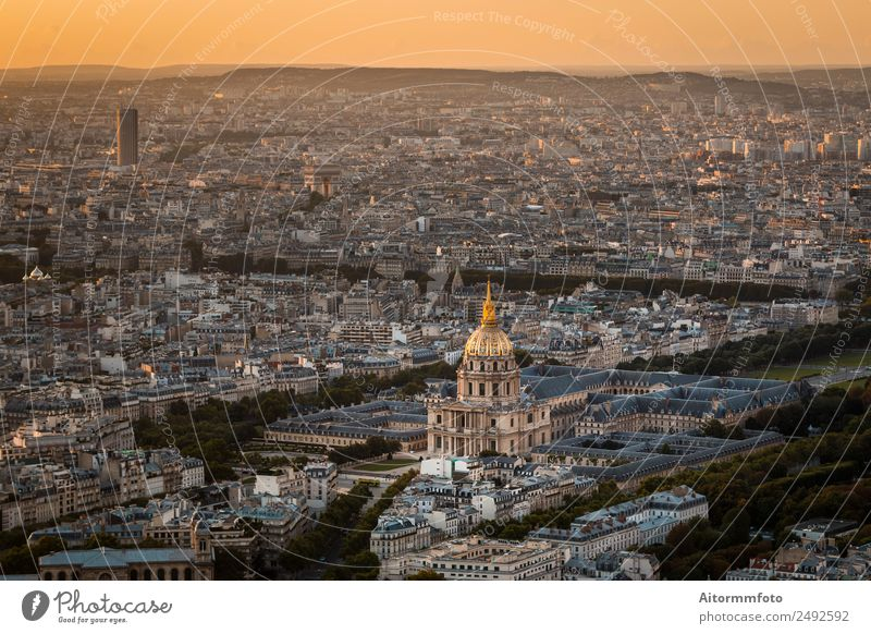 Aerial view of Paris at golden sunset Vacation & Travel Tourism Trip Sightseeing City trip Culture Landscape Sunrise Sunset Populated Building Architecture