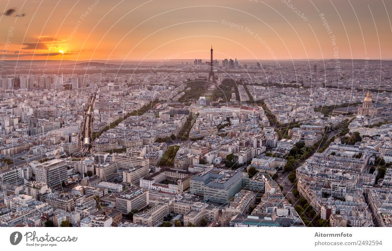 Drone shot of Paris at golden sunset Vacation & Travel Tourism Trip Sightseeing City trip Sun Culture Landscape Sunrise Sunset Skyline Building Architecture
