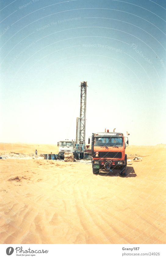 Finding cold clear water Well Drill Arabia Asia Hot Advertising executive Poster Panorama (View) Vacation & Travel Science & Research GTZ Water Desert Sand