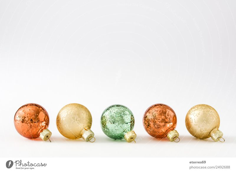 Christmas balls isolated on white background Vacation & Travel Christmas & Advent Green White Red Background picture Feasts & Celebrations Party Copy Space