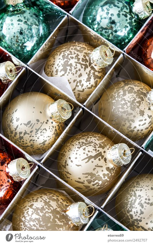 Christmas balls Vacation & Travel Christmas & Advent Green Red Background picture Party Feasts & Celebrations Bright Decoration Gold Seasons Sphere Ball Box