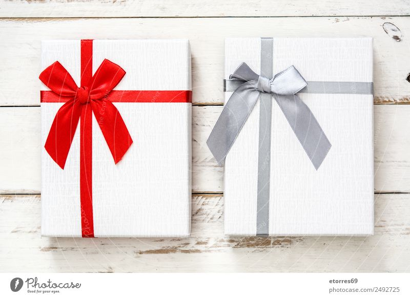 White gift box on white wooden background Vacation & Travel Christmas & Advent Red Feasts & Celebrations Decoration Birthday Gift Box Wooden table Packaging