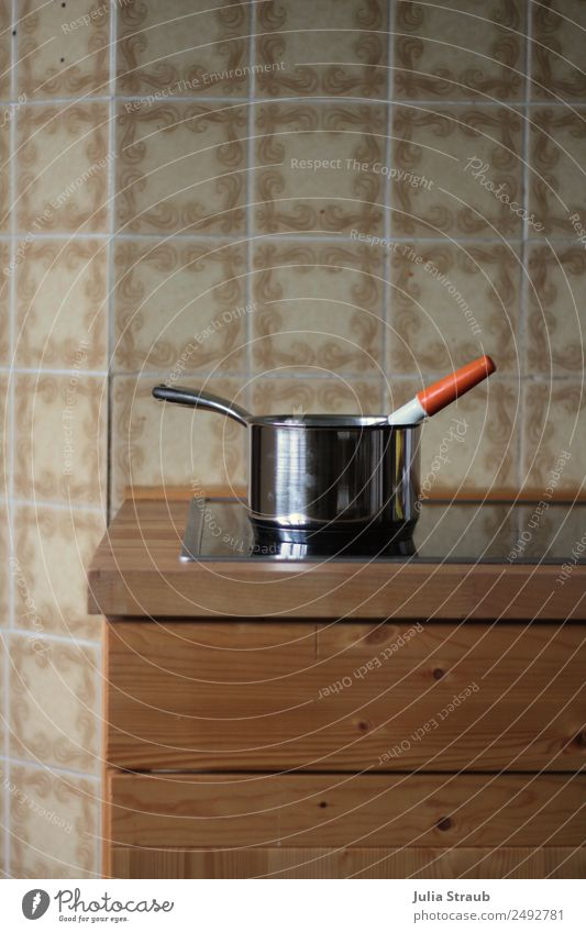 pot wood kitchen tiles snow whisk Pot Hip & trendy Uniqueness Retro Break Time Cooking Stove & Oven Colour photo Interior shot Day Central perspective