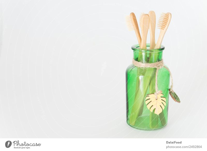 Tooth brush eco friendly Isolated Personal hygiene Cosmetics Innovative Toothbrush Organic Eco-friendly Brush Deserted Copy Space left Isolated Image