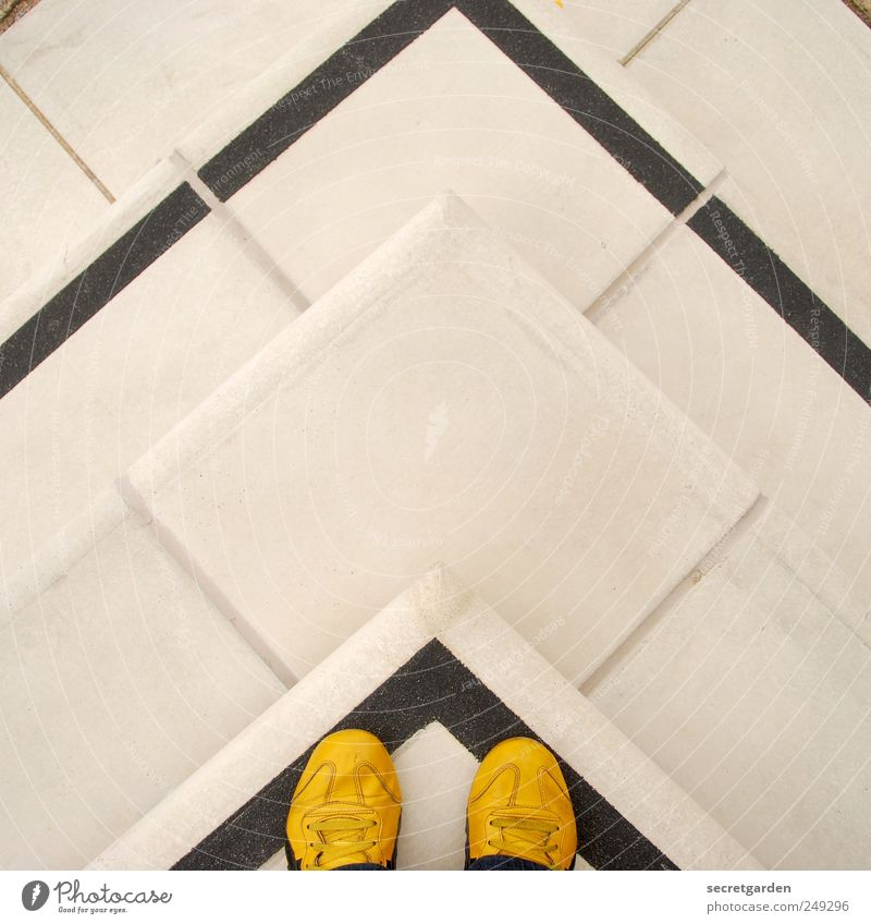 Human being White Black Yellow Jump Stone Line Footwear Concrete Masculine Stairs Stand Under Arrow Direction Upward