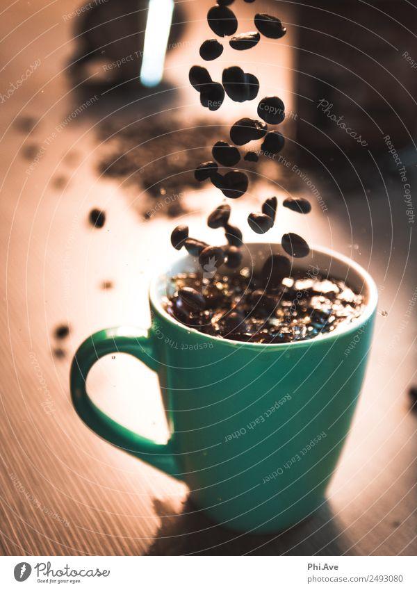 coffee splash Nutrition Breakfast To have a coffee Italian Food Beverage Hot drink Coffee Latte macchiato Work of art To fall Speed Happy Authentic Art