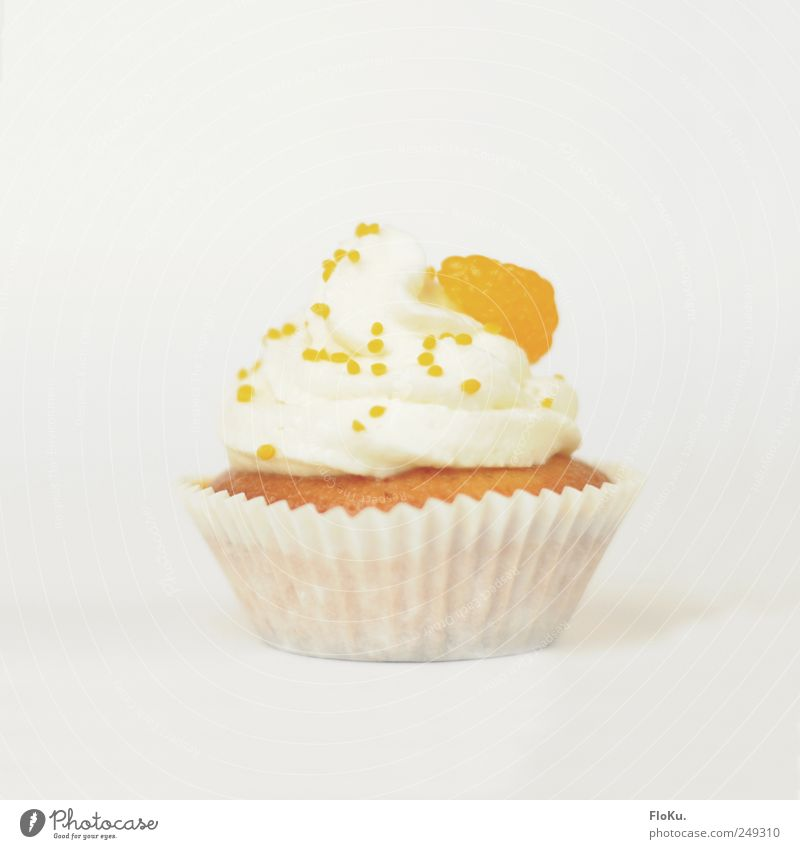 Cake in the Cup Food Dessert Candy Nutrition To have a coffee Fresh Beautiful Small Delicious Sweet Yellow White Happy Muffin Orange Tangerine Cream Tartlet