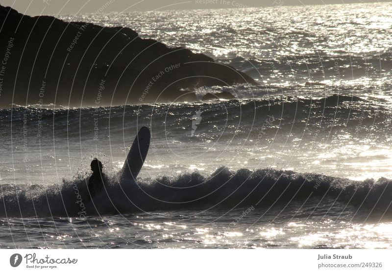 Human being Man Water Summer Ocean Loneliness Black Adults Life Rock Waves Masculine Beautiful weather Passion Silver Surfer